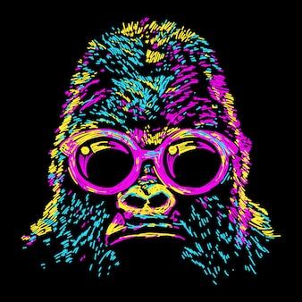 Abstrakter bunter gorilla mit gläsern