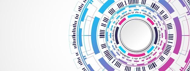 Abstrakter bunter technologiehintergrund weißes kreisfahne auf digitalem kreis und leiterplatte