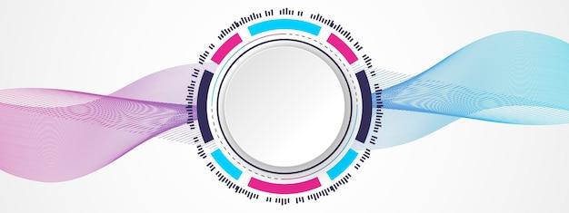Abstrakter bunter technologiehintergrundweißer kreisfahne auf digitalem kreis der blauen und rosa steigung