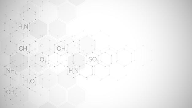 Abstrakter chemie-symbolhintergrund mit chemischen formeln und molekularen strukturen, konzept und idee für wissenschaft und innovationstechnologie.
