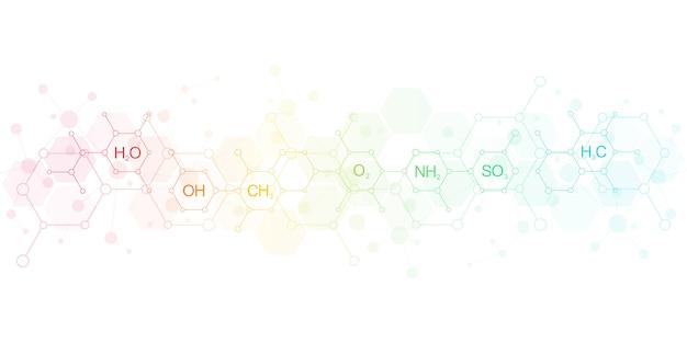 Abstrakter chemischer hintergrund mit chemischen formeln und molekularen strukturen. wissenschafts- und innovationstechnologiekonzept.