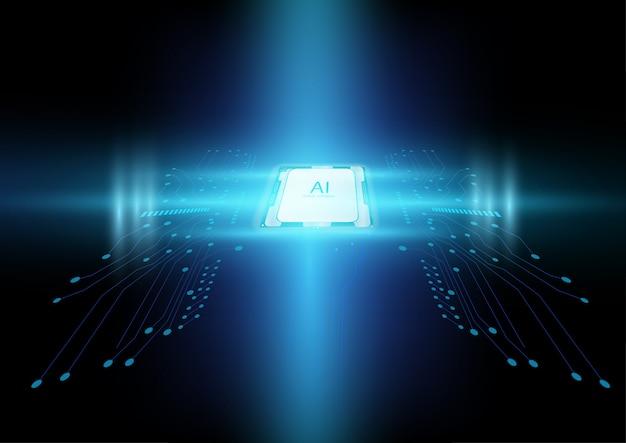Abstrakter chip der künstlichen intelligenz mit leiterplatte und futuristischem lichteffekt