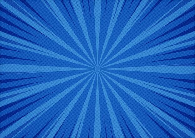 Abstrakter comic-hintergrund-cartoon-stil des blauen hintergrunds. sonnenlicht.