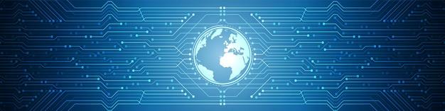 Abstrakter digitaler globaler technologiehintergrund, blaues leiterplattenmuster, mikrochip, stromleitung