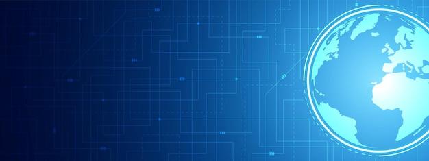 Abstrakter digitaler radius-globaler technologiehintergrund blauer leiterplattenmuster-mikrochip