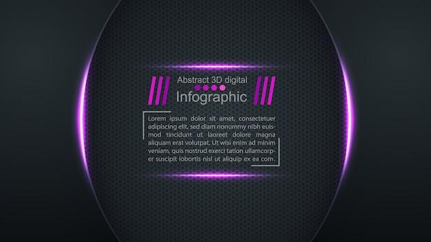 Abstrakter digitaler schwarzer hintergrund 3d mit textschablone