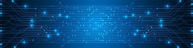 Abstrakter digitaler technologiehintergrund, blaues leiterplattenmuster, mikrochip, stromleitung