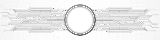 Abstrakter digitaler technologiehintergrund, weiße kreisleerstelle auf leiterplattenmuster