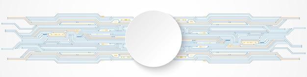 Abstrakter digitaler technologiehintergrund, weißes kreisfahne auf blauem und orange leiterplattenmuster