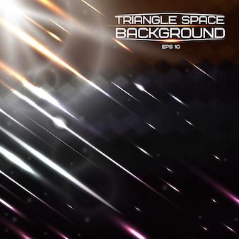 Abstrakter dreieckraumhintergrund mit hellen lichtern und kometen.