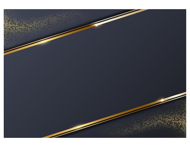 Abstrakter dunkelblauer hintergrund mit goldenem linienrahmen