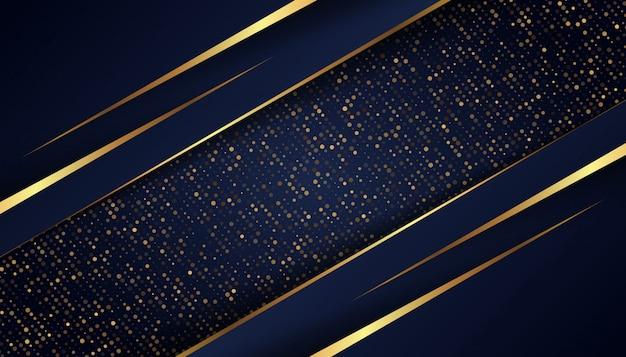 Abstrakter dunkelblauer hintergrund mit goldenen linien und punkten