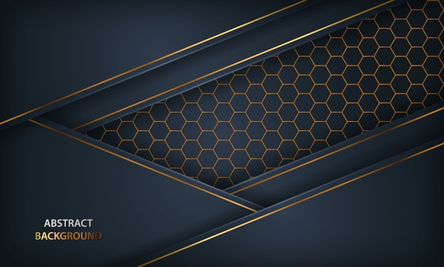 Abstrakter dunkelblauer hintergrund. textur mit goldenen element und sechseck design.