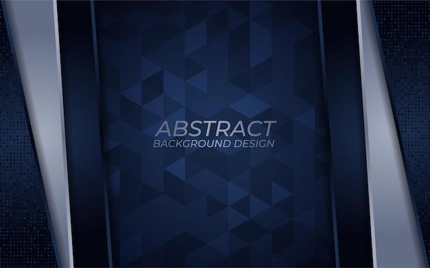 Abstrakter dunkelblauer und silberner hintergrund mit überlappungsschichtschablone