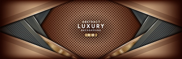 Abstrakter dunkelbrauner luxushintergrund mit goldener linie