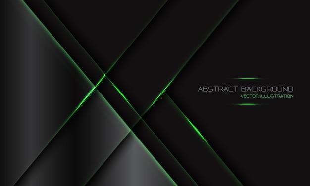 Abstrakter dunkelgrauer metallischer geometrischer grüner lichtlinien-schrägstrich mit modernem luxus-futuristischen technologiehintergrund des leerraumdesigns