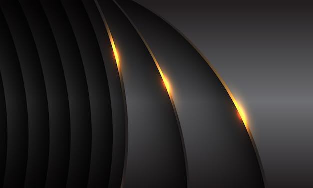 Abstrakter dunkelgrauer metallischer kurvenüberlappungsgoldlichtentwurf moderner futuristischer luxushintergrund.