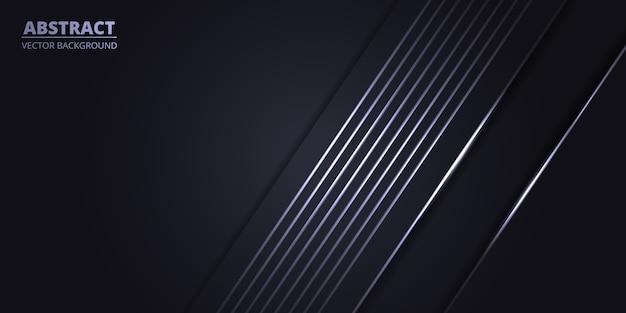 Abstrakter dunkelgrauer sporthintergrund mit weißen hellen linien.