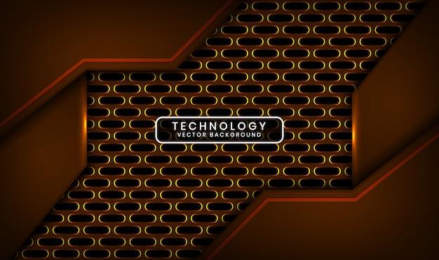 Abstrakter dunkler 3d-technologiehintergrund mit ovaler metallischer überlappungsschicht mit gelber lichteffektdekoration