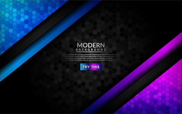 Abstrakter dunkler hintergrund 3d mit purpurroter und blauer steigung.