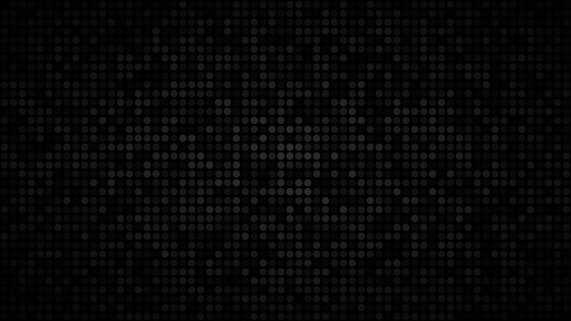 Abstrakter dunkler hintergrund aus kleinen kreisen in schattierungen von schwarzen und grauen farben.