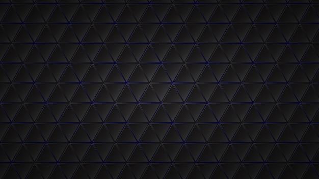 Abstrakter dunkler hintergrund aus schwarzen dreiecksfliesen mit blauen lücken dazwischen