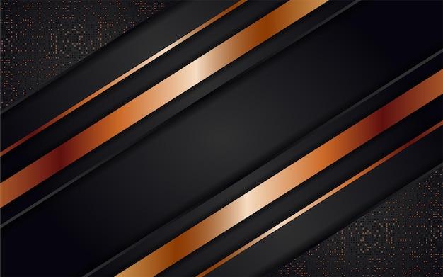 Abstrakter dunkler hintergrund kombinieren sie mit goldenen linien und punkten