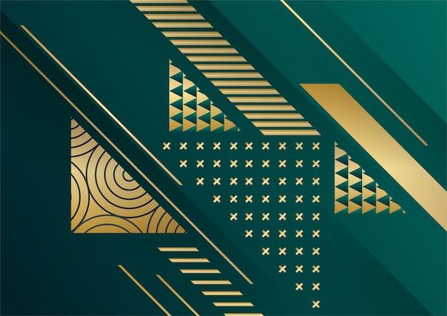 Abstrakter dunkler hintergrund mit geometrischer form und goldener elementkombination. dunkelgrüner und goldener hintergrund für präsentationsdesign, cover-vorlage, banner, flyer, unternehmensbericht und mehr