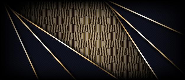 Abstrakter dunkler luxushintergrund mit den goldenen glühenden linien