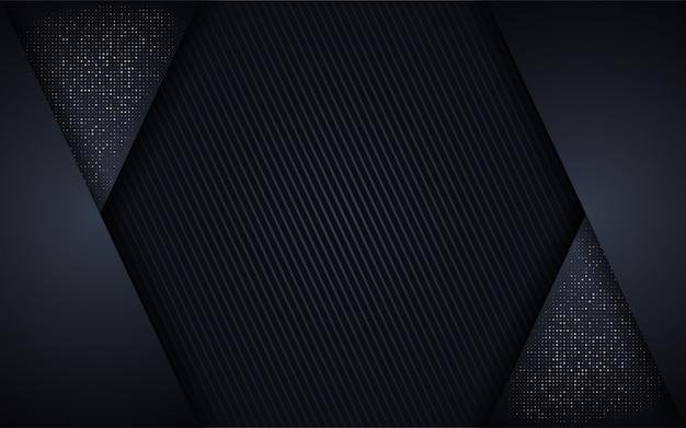 Abstrakter dunkler luxushintergrund mit funkeln und mettalic linien kombinationen