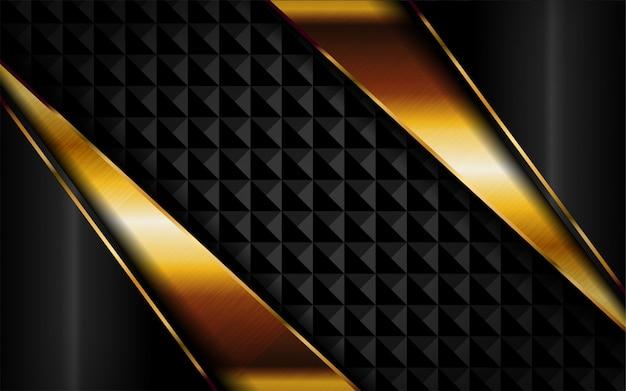 Abstrakter dunkler luxushintergrund mit goldenen linien kombinationen.