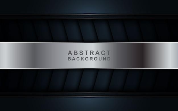 Abstrakter dunkler luxushintergrund mit silbernen linien kombinationen.