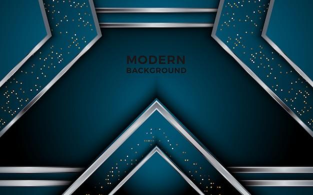 Abstrakter dunkler luxushintergrund mit silbernen linien kreisförmige glühende goldene punktkombinationen.