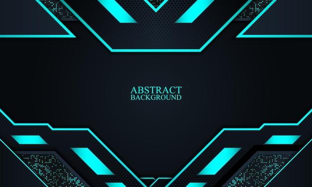 Abstrakter dunkler marinetechnologiehintergrund mit blauen neonstreifen-vektorillustration