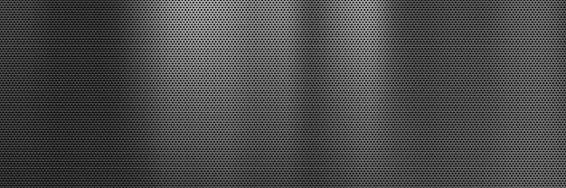 Abstrakter dunkler metall-banner-hintergrund mit stahlgrill-textur