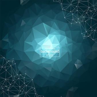 Abstrakter dunkler polygonaler raumhintergrund mit verbindenden punkten und linien. verbindungsstruktur. vektor-wissenschaft-hintergrund. polygonaler vektorhintergrund. futuristischer hud-hintergrund.