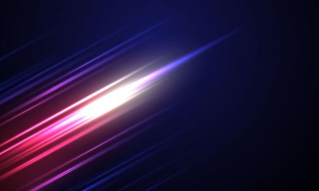 Abstrakter dynamischer blauer hintergrund mit hellen diagonalen linien. speed motion design technologie.