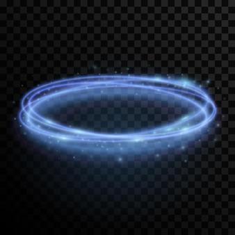 Abstrakter dynamischer wirbelnder blauer lichteffekt auf einem dunklen transparenten hintergrund.