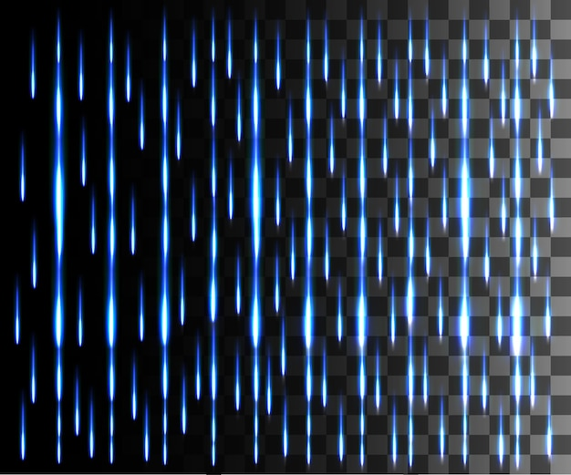 Abstrakter effekt der leuchtenden linie. regeneffekt. blaue linien lichteffekt auf transparentem hintergrund.