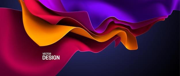 Abstrakter eleganter hintergrund mit gewelltem, fließendem seidigem textil