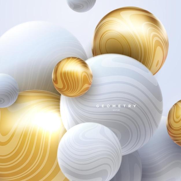 Abstrakter eleganter hintergrund mit weißen und goldenen fließenden kugeln, die mit wellenförmigen streifenmustern strukturiert sind