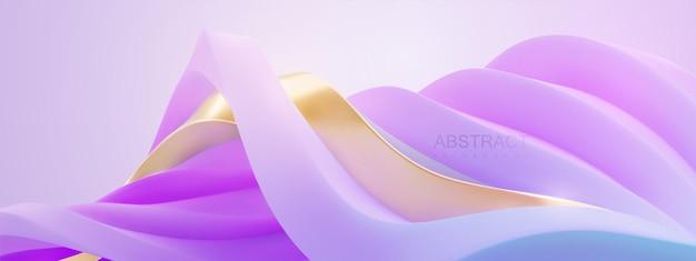 Abstrakter eleganter hintergrund mit wellenförmiger kurviger fantasielandschaft von violetten und goldenen wellenformen