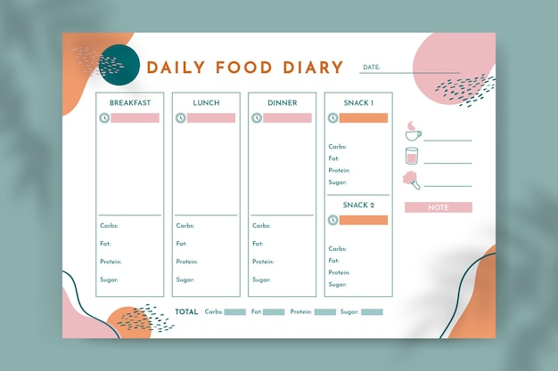 Abstrakter eleganter täglicher nahrungsmittelkalender