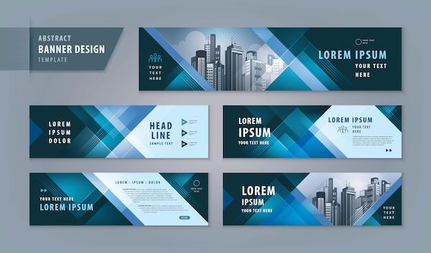 Abstrakter fahnendesign-netzschablonensatz, horizontale titelnetzfahne