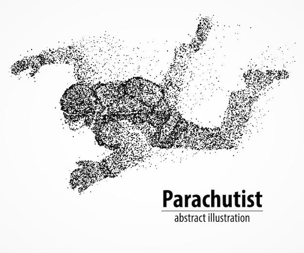 Abstrakter fallschirmspringer aus schwarzen kreisen. illustration.
