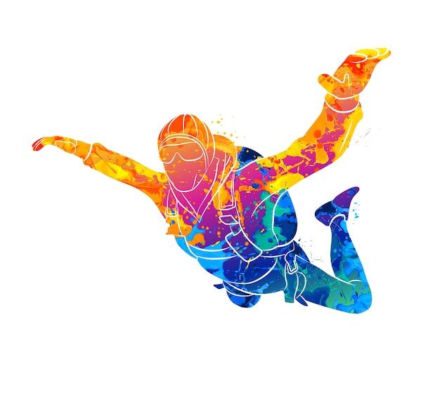 Abstrakter fallschirmspringer vom spritzen von aquarellen. illustration von farben.