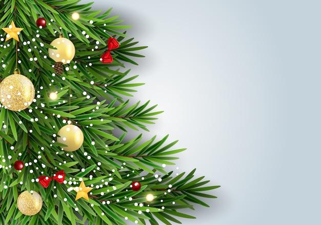 Abstrakter feiertags-neues jahr-und frohe weihnacht-hintergrund mit realistischem weihnachtsbaum.