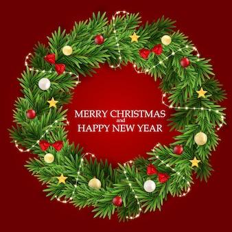 Abstrakter feiertags-neues jahr-und frohe weihnacht-hintergrund mit realistischem weihnachtskranz