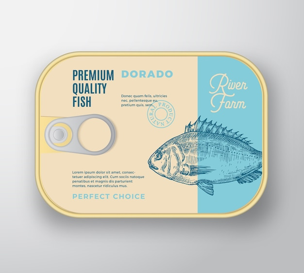 Abstrakter fischaluminiumbehälter mit etikettenabdeckung.