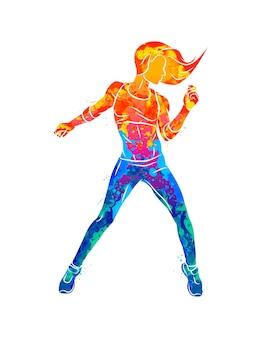 Abstrakter fitnesstrainer. junge frau zumba tänzerin, die fitnessübungen tanzt. hip-hop-tänzerin aus aquarell. illustration von farben